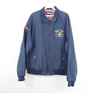 90s Ford Motor Co Mens Large Bomber Jacket Blue